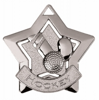 Mini Star Hockey Medal Silver 60mm