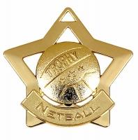 Mini Star Netball Medal Gold 60mm