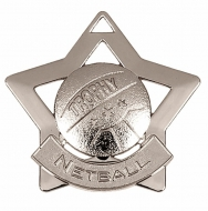 Mini Star Netball Medal Silver 60mm