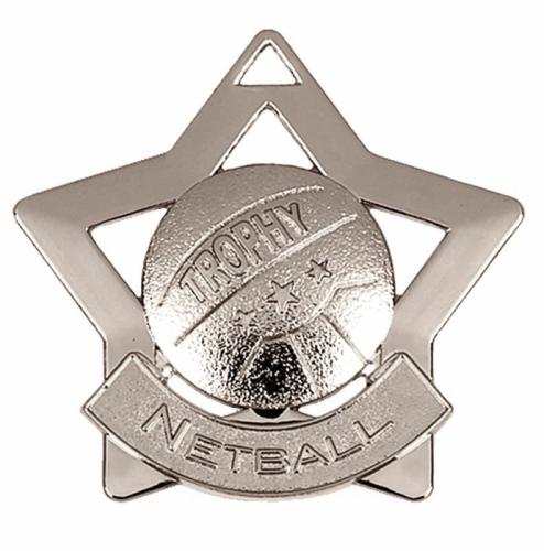 Mini Star Netball Medal Silver 60mm