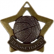 Mini Star Basketball Medal Bronze 60mm