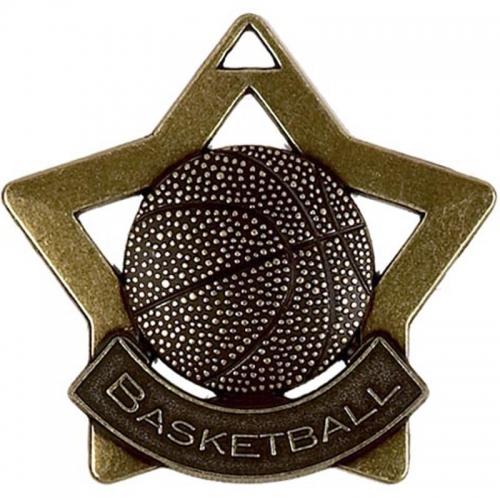 Mini Star Basketball Medal Bronze 60mm