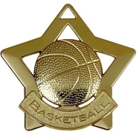 Mini Star Basketball Medal Gold 60mm