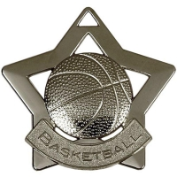 Mini Star Basketball Medal Silver 60mm