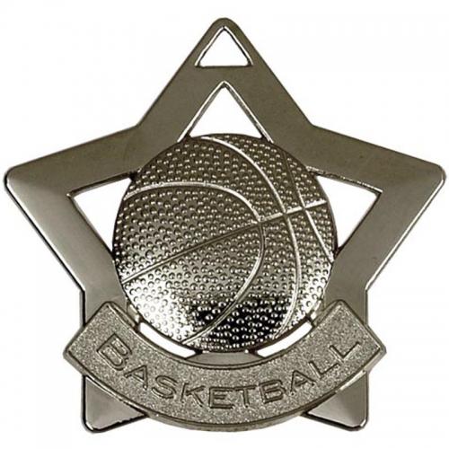 Mini Star Basketball Medal Silver 60mm