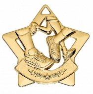 Mini Star Running Medal Gold 60mm