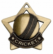 Mini Star Cricket Medal Bronze 60mm