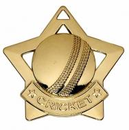 Mini Star Cricket Medal Gold 60mm