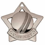 Mini Star Cricket Medal Silver 60mm
