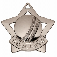 Mini Star Cricket Medal Silver 60mm