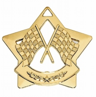 Mini Star Crossed Flags Medal Gold 60mm