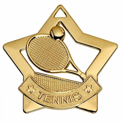 Mini Star Tennis Medal Gold 60mm