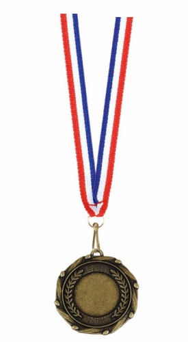 Combo45 Centre Holder Medal & Ribbo Gold FREE Red White and Blue Ribbon 45mm
