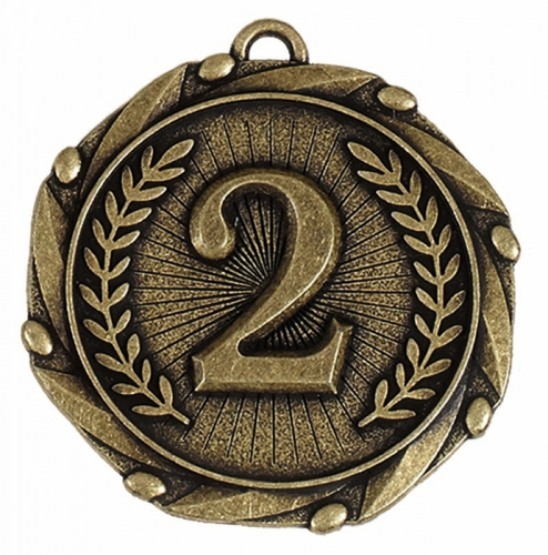 Combo45 2nd Medal & Ribbon Gold FREE Red White and Blue Ribbon 45mm