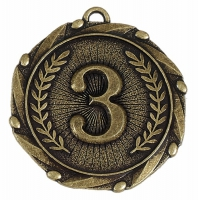 Combo45 3rd Medal & Ribbon Gold FREE Red White and Blue Ribbon 45mm