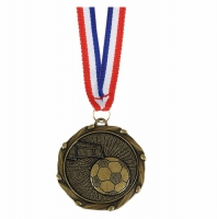 Combo45 Football Medal & Ribbon Gold Red White Blue 45mm