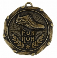 Combo45 Fun Run Medal & Ribbon Gold / Red / White / Blue 45mm