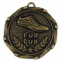 Combo45 Fun Run Medal & Ribbon Gold/Red/White/Blue 45mm