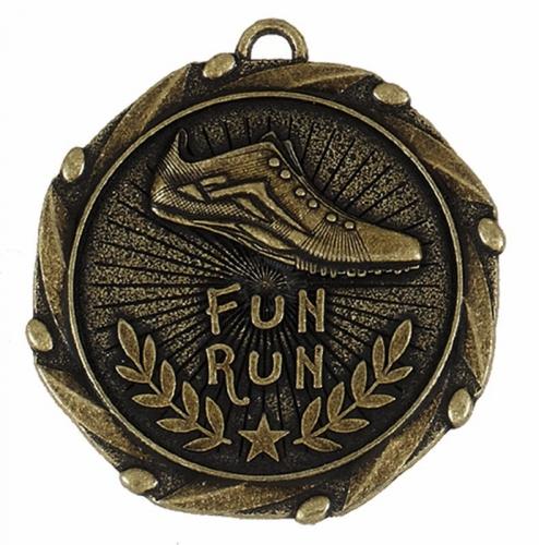 Combo45 Fun Run Medal & Ribbon Gold/Red/White/Blue 45mm