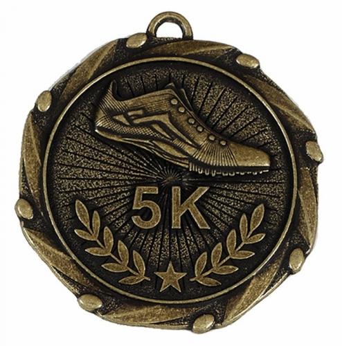 Combo45 5K Run Medal & Ribbon Gold/Red/White/Blue 45mm