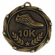Combo45 10K Run Medal & Ribbon Gold / Red / White / Blue 45mm