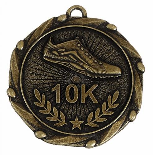 Combo45 10K Run Medal & Ribbon Gold/Red/White/Blue 45mm