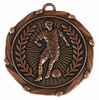 Combo45 Footballer Medal & Ribbon Bronze/Red/White/Blue 45mm