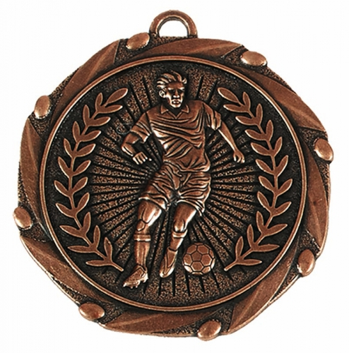Combo45 Footballer Medal & Ribbon Bronze FREE Red White and Blue Ribbon 45mm