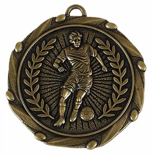 Combo45 Footballer Medal & Ribbon Gold Red White Blue 45mm