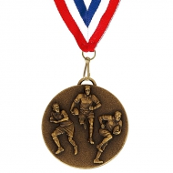 Target50 Rugby Medal with RWB Bronze 50mm