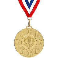 Target50 1st Medal with FREE Red White and Blue Ribbon 22mm Gold 50mm