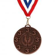 Target50 3rd Medal with FREE Red White and Blue Ribbon 22mm Bronze 50mm