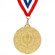 Target50 Stars Medal with FREE Red White and Blue Ribbon 22mm Gold 50mm