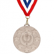 Target50 Stars Medal with RWB 22mm Silver 50mm