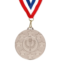 Target50 Stars Medal with FREE Red White and Blue Ribbon 22mm Silver 50mm