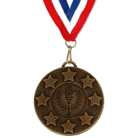 Target50 Stars Medal with FREE Red White and Blue Ribbon 22mm Bronze 50mm