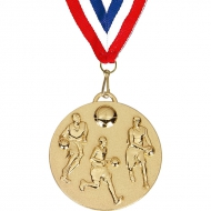 Target50 Basketball Medal with RWB Gold 50mm
