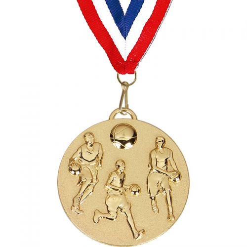 Target50 Basketball Medal with FREE Red White and Blue Ribbon Gold 50mm
