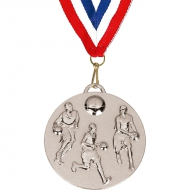 Target50 Basketball Medal with FREE Red White and Blue Ribbon Silver 50mm