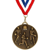 Target50 Basketball Medal with FREE Red White and Blue Ribbon Bronze 50mm