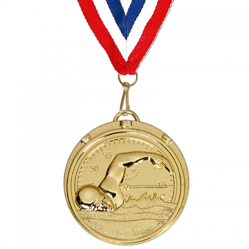 Target50 Swimming Medal with FREE Red White and Blue Ribbon Gold 50mm