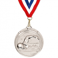 Target50 Swimming Medal with FREE Red White and Blue Ribbon Silver 50mm