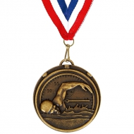 Target50 Swimming Medal with FREE Red White and Blue Ribbon Bronze 50mm