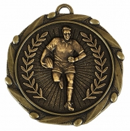 Combo Rugby Player Medal & Ribbon Ant Gold 45mm
