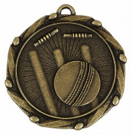 Combo Cricket Medal & Ribbon Ant Gold 45mm
