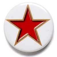Red Star Button Badge Red 1 Inch