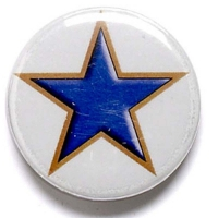 Blue Star Button Badge Blue 1 Inch