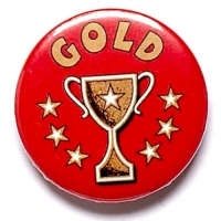 Gold Cup Button Badge Red 1 Inch