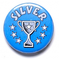 Silver Cup Button Badge Blue 1 Inch