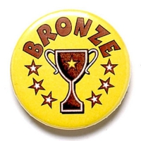 Bronze Cup Button Badge Yellow 1 Inch